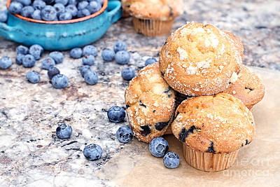 Blueberry Muffins And Berries Poster by Stephanie Frey