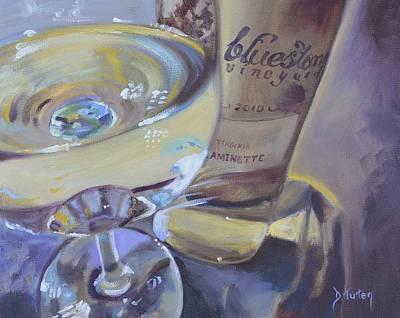 Bluestone Traminette And Glass Poster by Donna Tuten