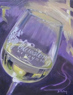 Bluestone Vineyard Wineglass Poster by Donna Tuten