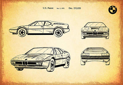 Bmw M1 Patent 1979 Poster by Mark Rogan