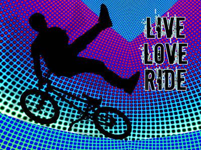 Bmx Fractal Movie Marquee Live Love Ride Poster by Elaine Plesser