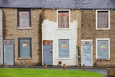 Boarded Up Terraced Houses In Burnley Poster by Ashley Cooper