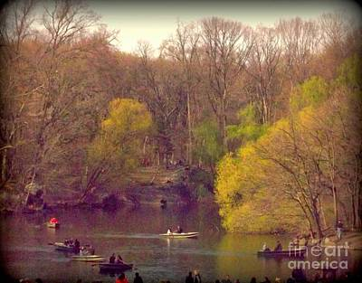 Boating On The Lake - Central Park Poster by Miriam Danar