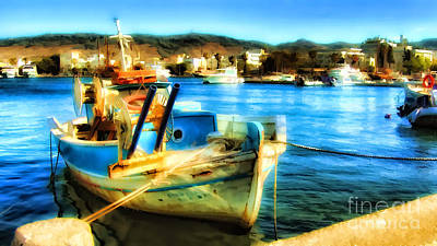 Boat In Marina Poster by Justyna JBJart
