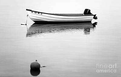 Boat In The Bay Bw Poster by John Rizzuto