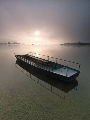 Boat On Foggy Lake Poster by Davorin Mance