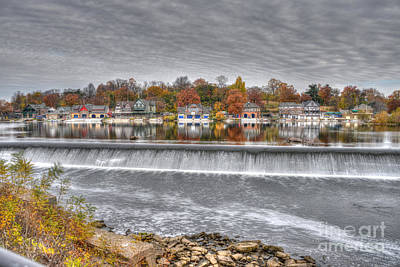 Boathouse Row Across The Dam Poster by Mark Ayzenberg