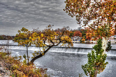 Boathouse Row Through The Foliage Poster by Mark Ayzenberg