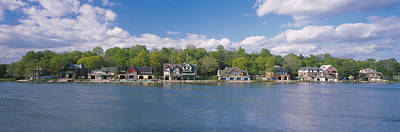 Boathouses Near The River, Schuylkill Poster by Panoramic Images
