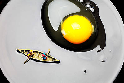Boating Around Egg Little People On Food Poster by Paul Ge