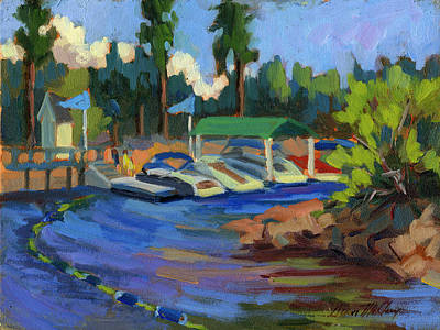 Boating At Lake Arrowhead Poster by Diane McClary