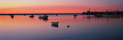 Boats In An Ocean At Sunset Poster by Panoramic Images