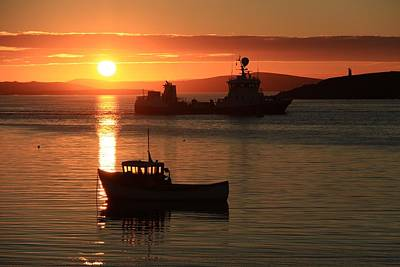 Boats In The Sunset Trondra Shetland Poster by Anne Macdonald