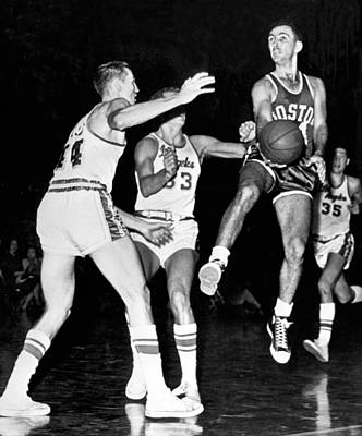 Bob Cousy Passes Basketball Poster by Underwood Archives
