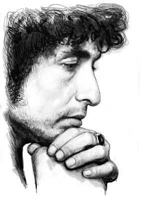 Bob Dylan Blackwhite Drawing Sketch Poster Poster by Kim Wang