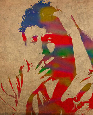 Bob Dylan Watercolor Portrait On Worn Distressed Canvas Poster by Design Turnpike