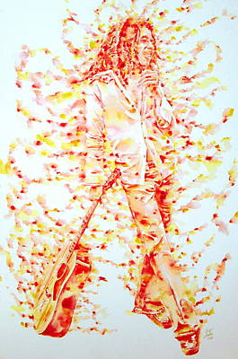 Bob Marley And Guitar - Watercolor Portrait Poster by Fabrizio Cassetta
