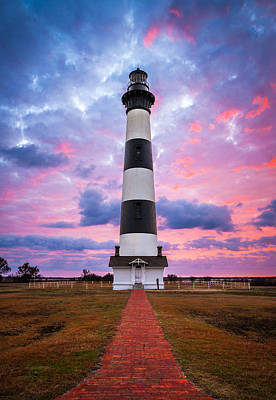 Bodie Island Lighthouse Sunrise Obx Outer Banks Nc - The Gatekeeper Poster by Dave Allen