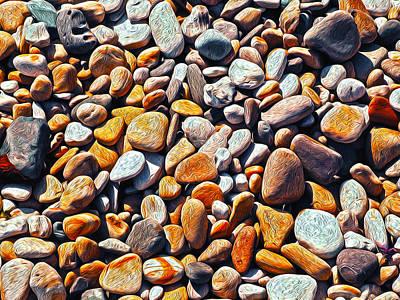 Boisterous Beach Stones Poster by Joe Schofield
