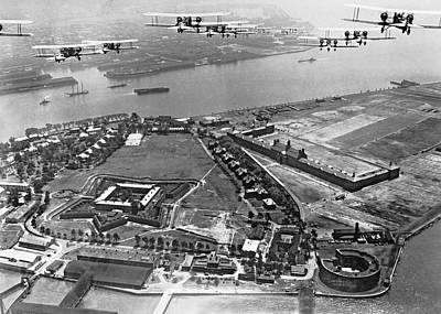 Bombers Over Governors Island Poster by Underwood Archives