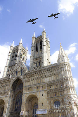 Bombers Over The Cathedral Poster by J Biggadike