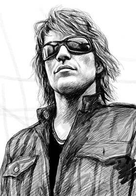 Bon Jovi Art Drawing Sketch Portrait Poster by Kim Wang