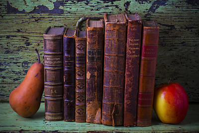 Books With Pear And Apple Poster by Garry Gay
