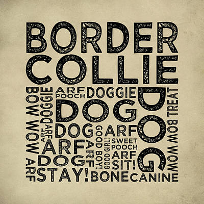 Border Collie Typography Poster by Flo Karp