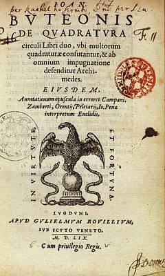 Borrel's 'de Quadratura Circuli' (1559) Poster by Middle Temple Library