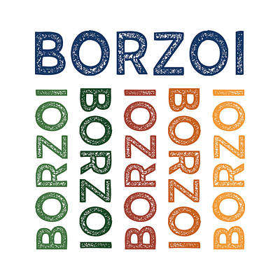 Borzoi Cute Colorful Poster by Flo Karp