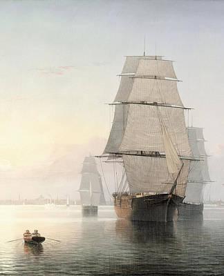 Boston Harbor At Sunset Detail 1 Poster by Fitz Henry Lane