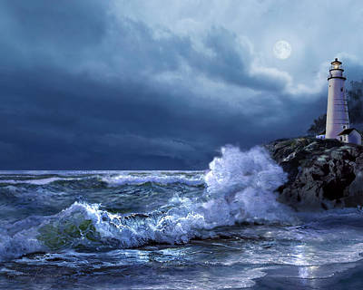 Boston Harbor Lighthouse Moonlight Scene Poster by Regina Femrite