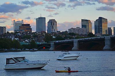 Boston Longfellow Bridge Kayaker Poster by Toby McGuire