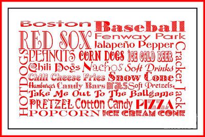 Boston Red Sox Game Day Food 3 Poster by Andee Design