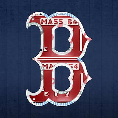 Boston Red Sox Logo Letter B Baseball Team Vintage License Plate Art Poster by Design Turnpike
