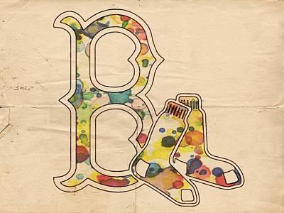 Boston Red Sox Vintage Logo Poster by Florian Rodarte