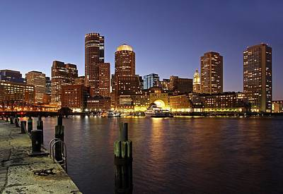 Boston Skyline And Fan Pier Poster by Juergen Roth
