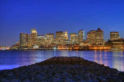 Boston Skyline - Blue Hour Poster by Joann Vitali