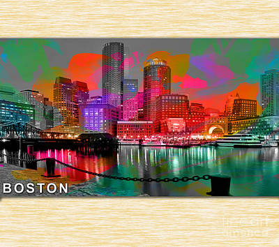 Boston Skyline Painting Poster by Marvin Blaine