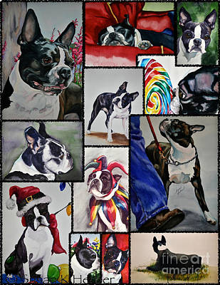 Boston Terrier Watercolor Collage Poster by Susan Herber