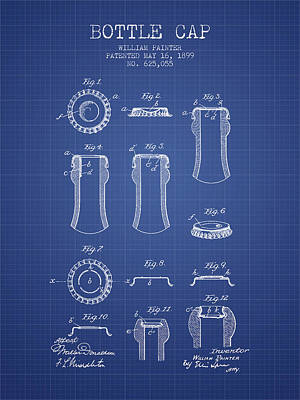 Bottle Cap Patent 1899- Blueprint Poster by Aged Pixel