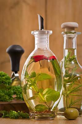 Bottles Of Olive Oil Poster by Amanda Elwell
