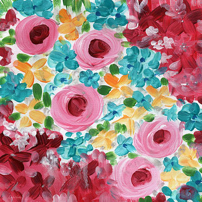 Bouquet- Expressionist Floral Painting Poster by Linda Woods