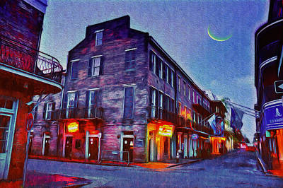 Bourbon Street - Crescent Moon Over The Crescent City Poster by Bill Cannon