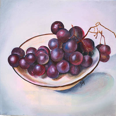 Bowl Of Grapes Poster by Jane Autry