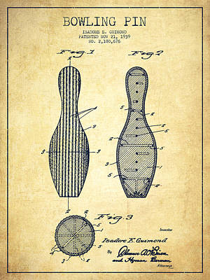 Bowling Pin Patent Drawing From 1939 -vintage Poster by Aged Pixel