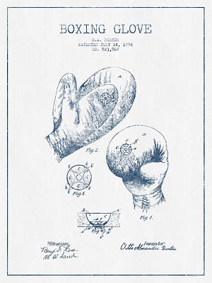 Boxing Glove Patent Drawing From 1894  -  Blue Ink Poster by Aged Pixel