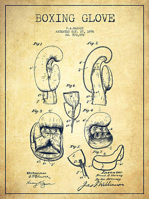 Boxing Glove Patent Drawing From 1896 - Vintage Poster by Aged Pixel
