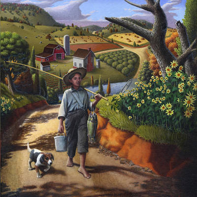Boy And Dog Country Farm Life Landscape - Square Format Poster by Walt Curlee