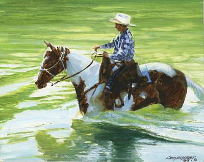 Boy Crossing Big Creek Poster by Don  Langeneckert